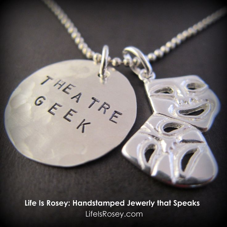 This can be personalized however you want!  - Theatre Gifts, Drama Gifts, Musical Theatre Geek, Comedy Tragedy Necklace with Hand stamped Disc - Glee - Gleek - Drama Club. $48.00, via Etsy.