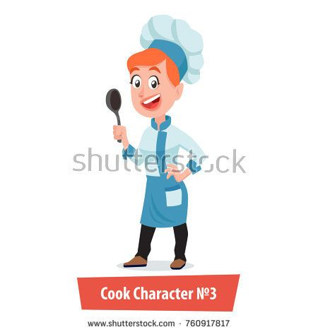 Happy Cook Woman Character with   ladle in Blue Uniform Isolated on White Background. Cartoon Style Vector Illustration