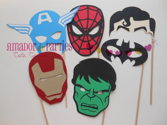 Superhero Photo Booth Props by AmadordeParties on Etsy, $21.00