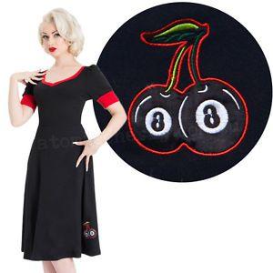 4deb644ff38 Voodoo Vixen Cherry Lucky Dress Eight Ball Rockabilly Pin Up Kustom Cute  8ball