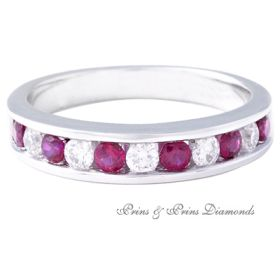 18K white gold ring with channel set round brilliant cut rubies weighing 0.44ct combined, and channel set round brilliant cut diamonds weighing 0.29ct combined, GH/VS-SI