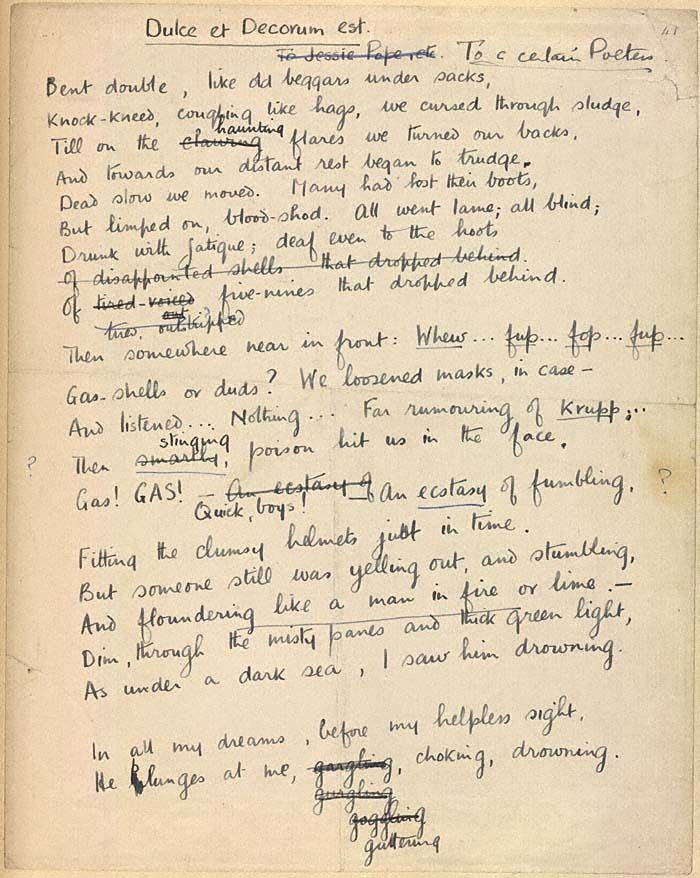 WilfredOwen – Dulce Et Decorum Est | Genius