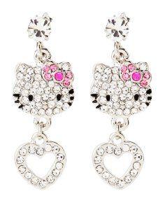 hello kitty wedding rings hello kitty rhinestone face and heart dangle earrings - Hello Kitty Wedding Ring