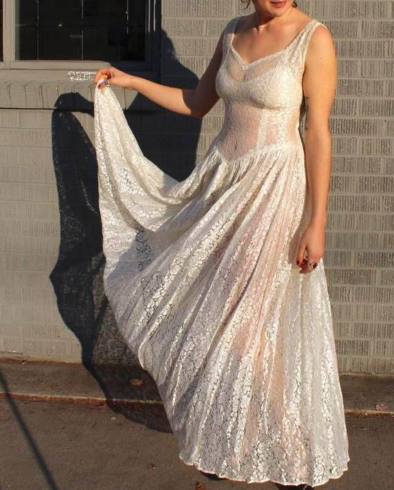 e773a8b5c97 Vintage 1930 s Sheer Dress    30s 40s White Netted Floral and Leaf Lace  Evening Gown    Ethereal Lon