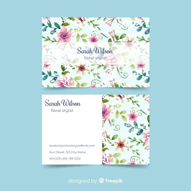 Watercolor Floral Business Card Template Free Vector Freepik Freevector Business Card Flowe Floral Business Cards Business Card Template Card Template