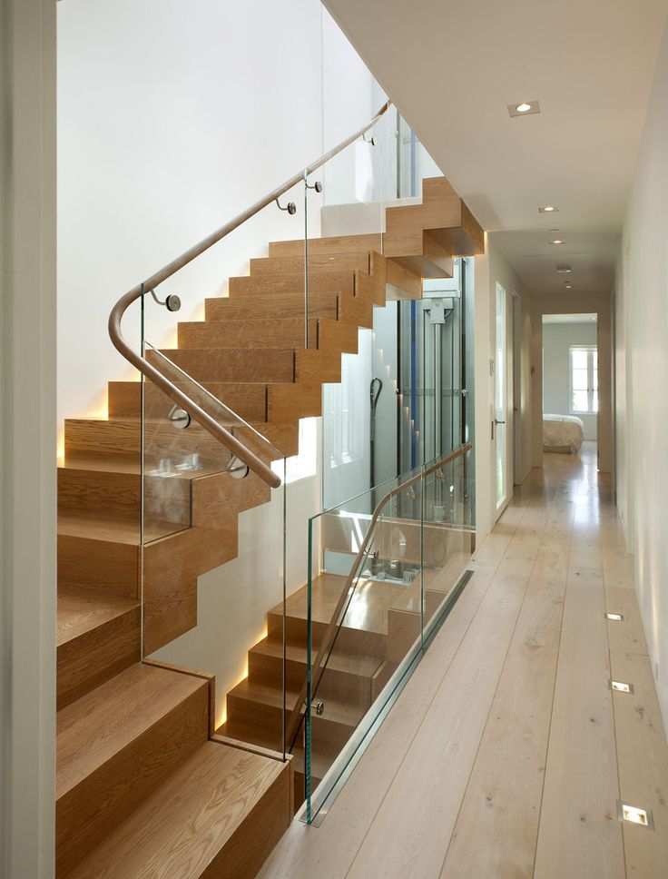 17 best ideas about glass stair railing on pinterest for Modern glass railing