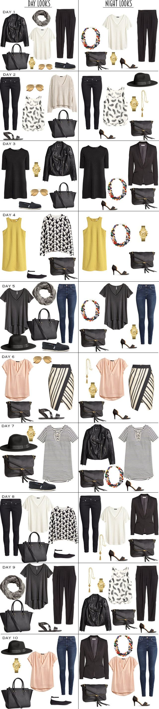 Packing Light for 10 Days in Copenhagen, Denmark. These are the 10 Day and 10 Night Looks. A full packing list is available on the Blog. #packinglight #travellight #packinglist