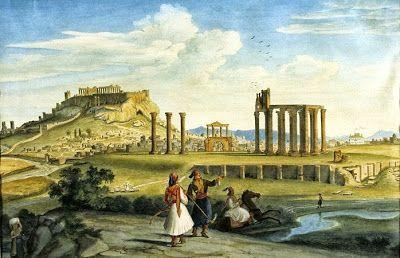 Άποψη της Αθήνας με το Ιλισσό , το Ολυμπιείο και την Ακρόπολη. Έργο του 1833. Johann Michael Wittmer [1802 – †1880]