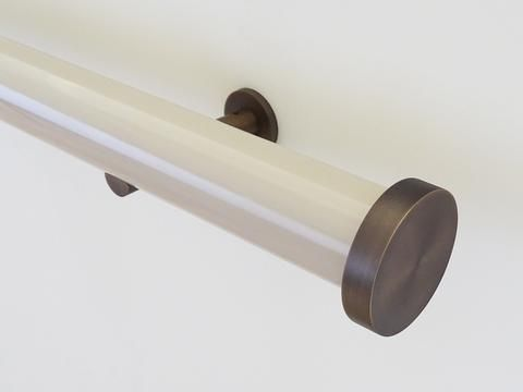 50mm diameter gloss lacquered mushroom curtain pole with mini disc finials and steel brackets