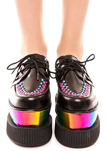 TUK A8641 T.U.K Größe 39 SCHUHE Leder CREEPERS RAINBOW DAMEN Doppelboden Schwarz Shoes BLACK DOUBLE STACKED RAINBOW VIVA MONDO CREEPER - http://on-line-kaufen.de/t-u-k/tuk-a8641-t-u-k-groesse-39-schuhe-leder-creepers