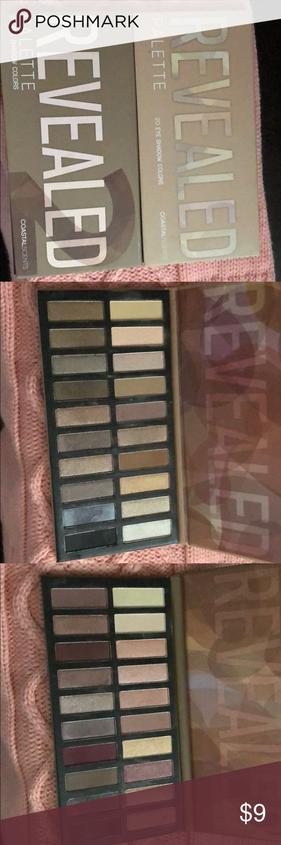 Coastal Scents Revealed 1 & 2 Palettes Coastal Scents Revealed 1 & 2 eyeshadow palettes.  Only swatched both these palettes!  They were bought and got lost in my stash!  All shadows have been sanitized with rubbing alcohol! Coastal Scents Makeup Eyeshadow