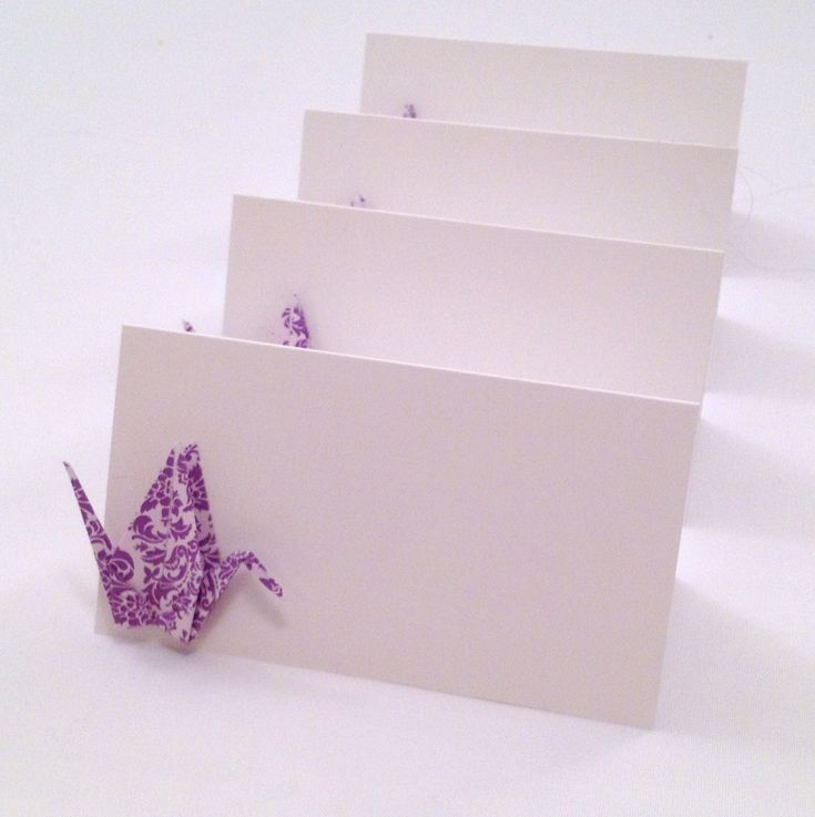 Origami Crane Place Cards, Wedding Escort Cards - Favor sets of 20 -Damask print any color. $28.00, via Etsy.
