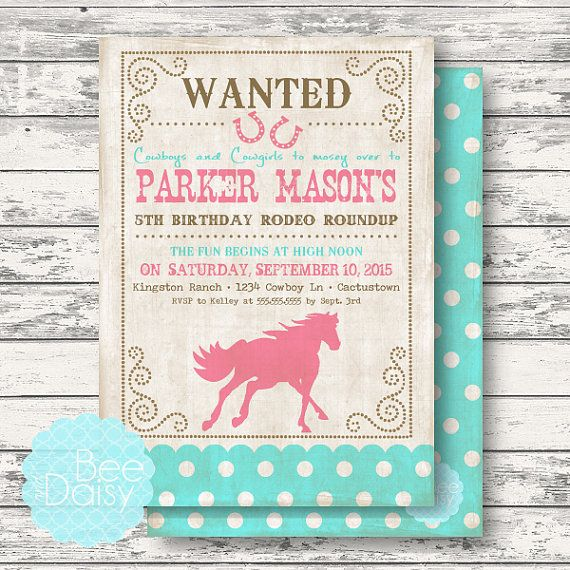Vintage Cowgirl Invitation - Girls Western Horse Birthday Party or Baby Shower Invitation - Printable Invite by BeeAndDaisy