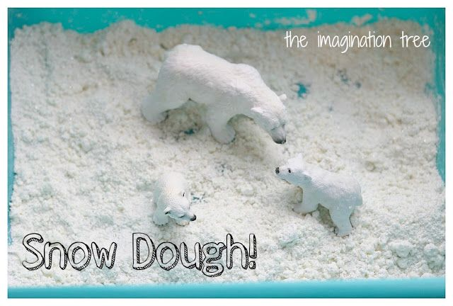 Snow Dough Recipe for Winter Sensory Play {from The Imagination Tree}