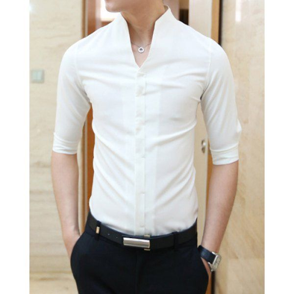 $11.33 Casual Style Slimming Half Sleeves Stand Collar Solid Color Men's Cotton Blend Shirt