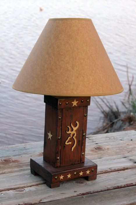 Brown Rust Tan Lodge Cabin Hunting Deer Western Reclaimed Barnwood Ranch Browning Table Lamp-Rustic-Distressed Barn Wood-Chippy MAN CAVE on Etsy, $89.00