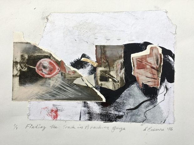 ELAINE d'ESTERRE - Finding the Track in Brachina Gorge, 2016, etching collage, 30x42 cm. Also at http://elainedesterreart.com/ and http://www.facebook.com/elainedesterreart/ and http://instagram.com/desterreart/