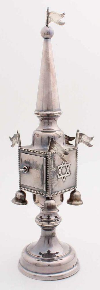 Silber Besamin Turm, 925/000, Deutsch, rund und Formschaft. Ein Turm mit einer Klapptür und 4 beweg