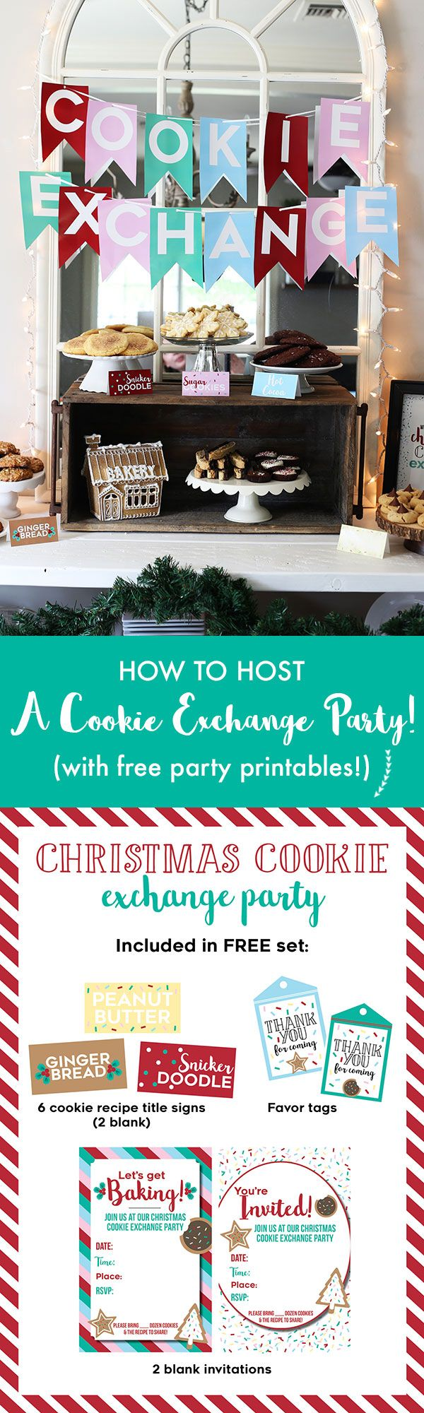 How to Host a Christmas Cookie Exchange Party, with a FREE set of party printables!