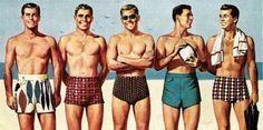 Men's bathers swimsuits 1950s