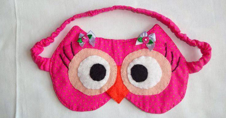 Máscara de dormir de corujinha com molde