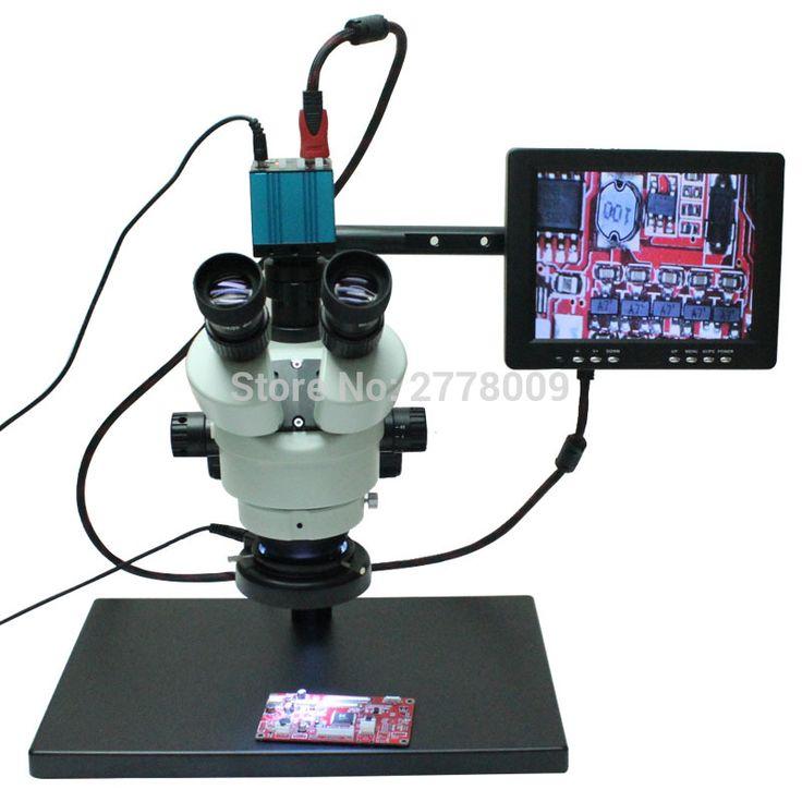 Continuous Zoom Binocular Visual 7X-90X Trinocular Stereo Microscope+HD HDMI USB Microscope Camera+8-inch HD Monitor+Holder