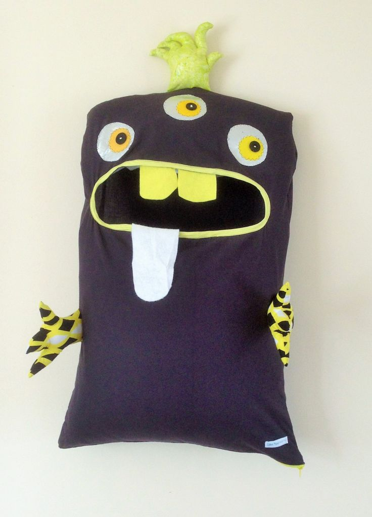 Monster Laundry Bag, Awesome Black & Yellow 3 Eyed Friendly Monster, A Pet, Bag, dress Up, christmas, teens, teenager, kids, guys, men's by ColourMeldDesigns on Etsy