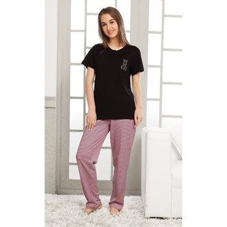 Pyjama Sets, Night Wear, Women, Fashion, Lulu, Pink Avenue, Pink Avenue Women's Pyjama Set 11705 , Women , Pink Avenue , 11705 ,  ,  ,  ,  ,  ,  , Top : 100% Cotton. Bottom : 60% Cotton & 40% Polyester , Summer ,  , 1 Pyjama Set , Machine wash warm with similar colors,Do not bleach, Do not dry clean, Do not tumble dry, Iron low required. There might be slight color variation due to lightings and flash while photo shoot.