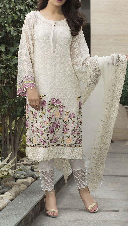 Off-White Embroidered Chiffon Dress