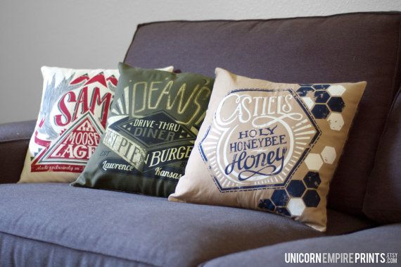 Supernatural Team Free Will Trio Pillow by UnicornEmpirePrints, $75.00