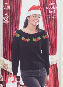 This King Cole double  knitting pattern leaflet 3809 will instruct you on how to create a Ladies Christmas jumper with holly design and a Mans Christmas jumper with candy cane design.