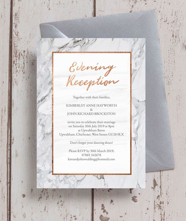 Personalised Marble Copper Evening Wedding Reception Invitatio Wedding Reception Invitation Wording Cocktail Wedding Reception Invitation Wedding Invitations