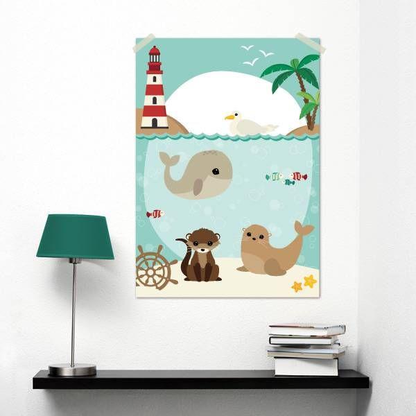 Poster in A3 formaat met een zomerse illustratie uit de nieuwste collectie van Oktoberdots. Alle leuke Woodland Zomer diertjes staan erop: walvis, otter, meeuw en zeehond.