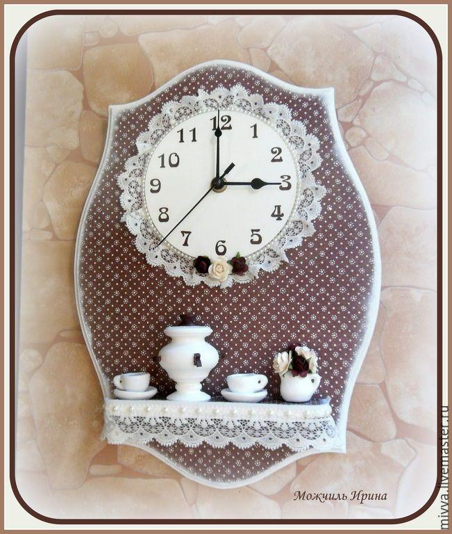 """Купить Часы с полочкой """"Русский шоколад"""" - коричневый, самовар, чаепитие, часы необычные, часы с полочкой"""