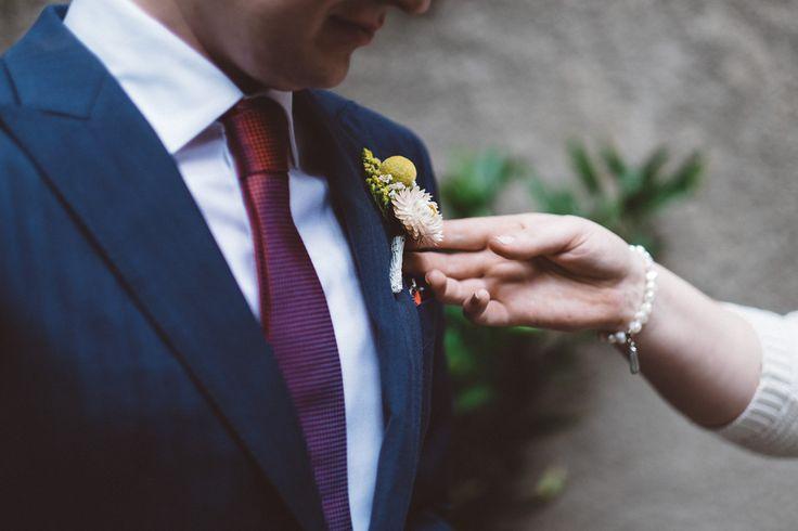 Boutonnière for Melbourne Wedding #wedding #melbourne #flower #autumn #summer #navy #photography