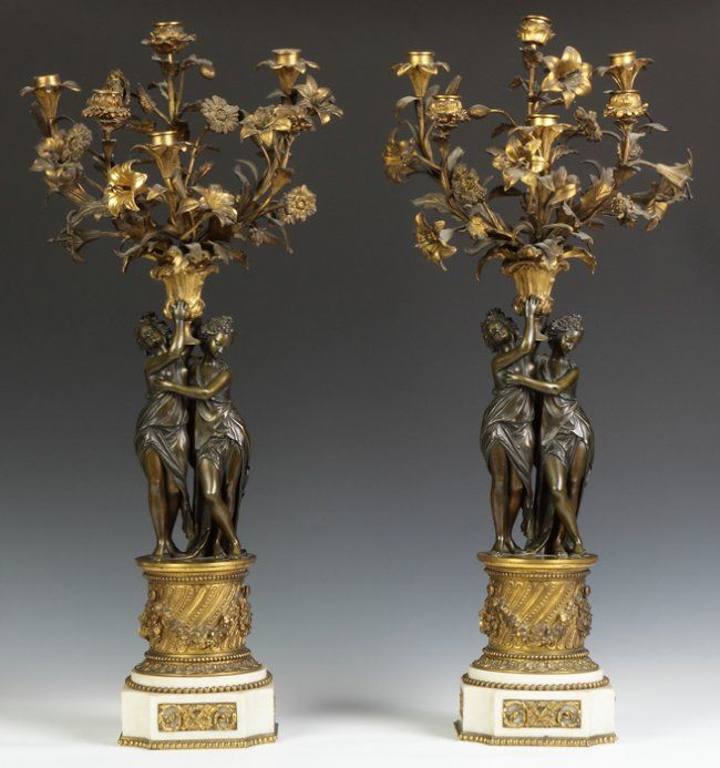Pair of French Gilt Bronze & Marble Figural Candelabras