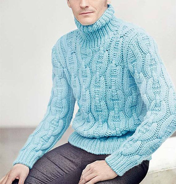 MADE TO ORDER Sweater turtleneck men hand knitted by BANDofTAILORS