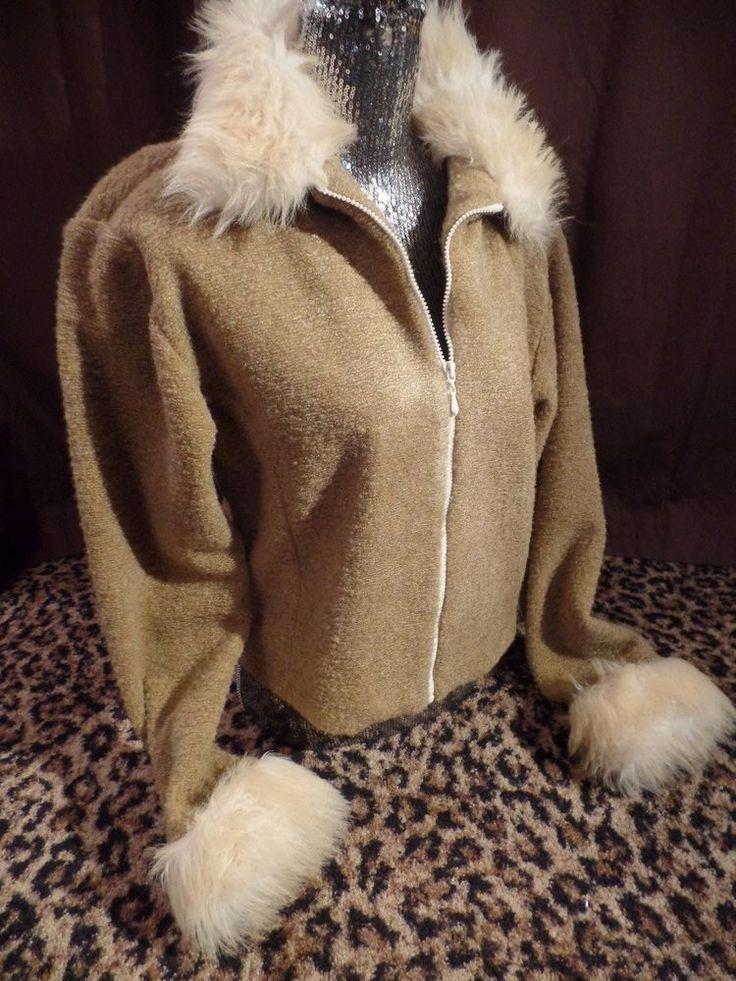 FRANKLY MY DEAR Faux Fur Tan Camel Zip Up Jacket Shirt Sweater EUC Womens L Sexy #FranklyMyDear #BasicJacket