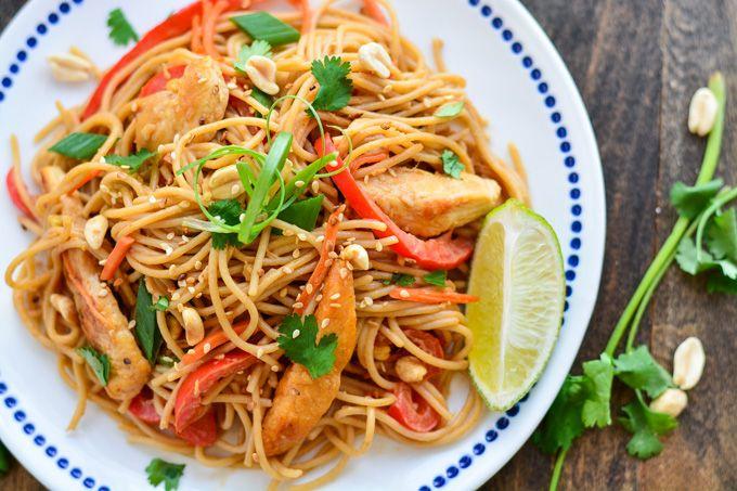 Peanut noodles, Thai chicken and Peanuts on Pinterest