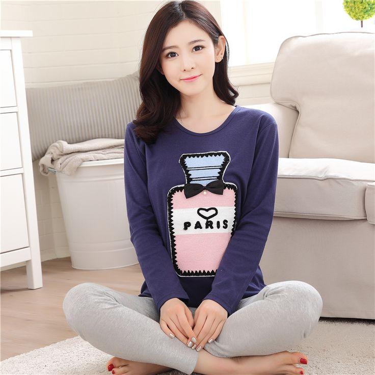 Gadpat M-2xl Women Pajamas Sets 100% Cotton Nightwear Spring Autumn Long Sleeve Pyjamas O-neck Sleepwear Female Pijamas Mujer #Affiliate