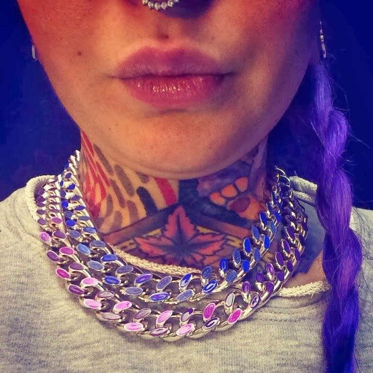 #jewels #bijoux #purple #liliac #girl #fashion #style #rock #fashion #people #milan #tattoo #fashionblogger #style @Telli Collection Milano  #necklace #bracelet #fashion people in #milan - Kola Payer wears Telli Collection, sea punk, icone di stile milano, amanda marzolini the fashionamy blog, bracci...