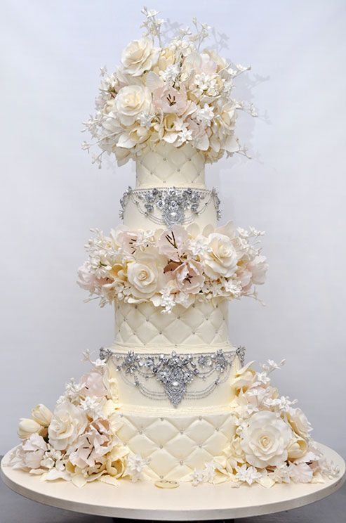 A little bling and a whole lot of romance goes a long way with this gorgeous wedding cake by Sylvia Weinstock.
