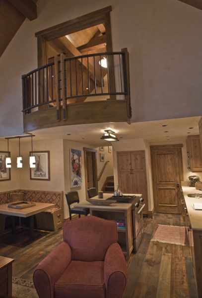 I like the lofted bedroom with a balcony overlooking the fireplace and open ceiling living room Master bedroom open ceiling