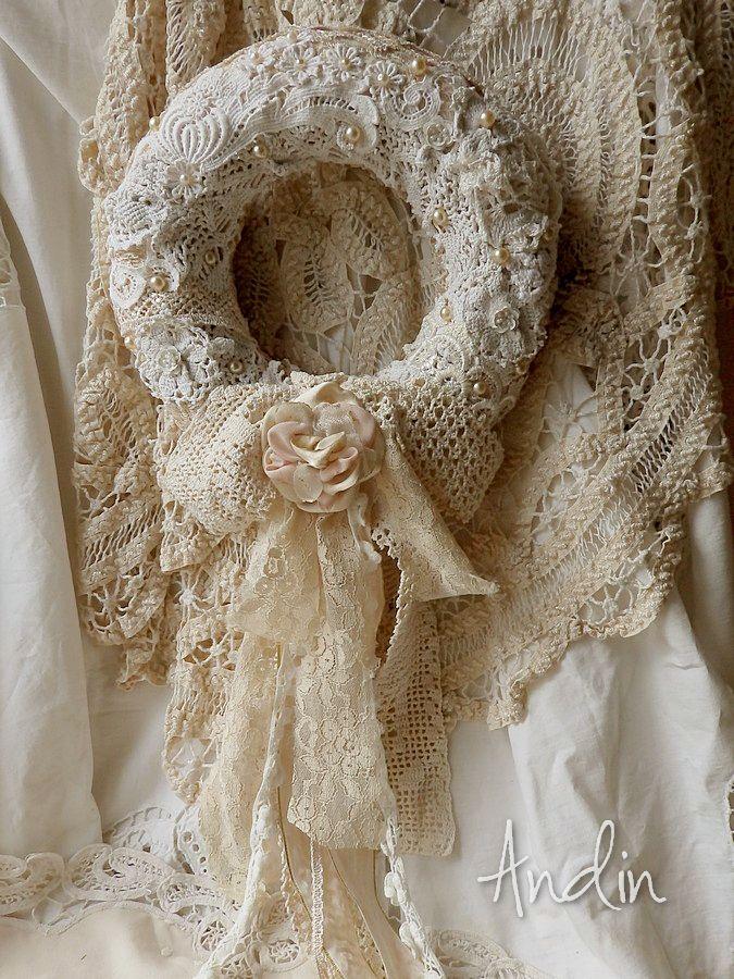 Beautiful lace & crochet detail on wreath