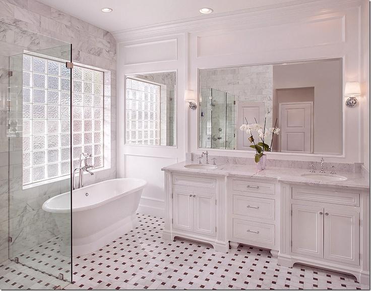 image: Bathroom Design, Marbles Bathroom, Floors, Cote De Texas, Marble Bathrooms, White Bathrooms, Bathroom Ideas, Bathroom Cabinets, Master Bathroom