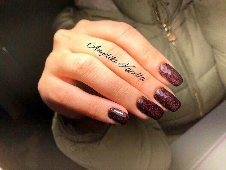 Dark red glitter nails