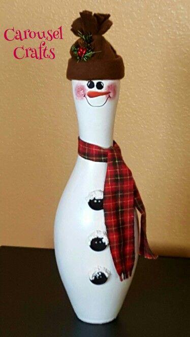 Bowling pin craft.  Snowman bowling pin