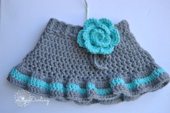 Gils Crochet Ruffled Skirt  Gray Teal Skirt  Hot by LiyaDarling, $22.00