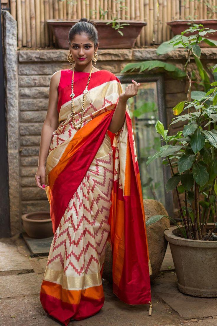 Red Chevron patterned heavy pochampally silk saree #saree #handloom #pochampally #ikat #houseofblouse #india