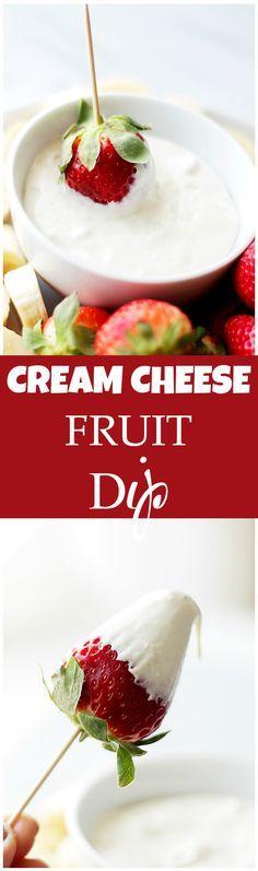 Cream Cheese Fruit Dip - Delicious, lightened-up creamy fruit dip made with cream cheese and plain yogurt. Simple, yet SO GOOD! Get the recipe on diethood.com